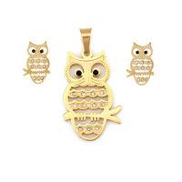 Free Shipping Owl Pattern Metallic With Diamond Drop Earring 10sets 15061#