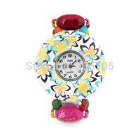 Free Shipping Flower Pattern Colorful Band Metallic Bracelet Watch 10pcs 35030#