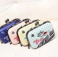 2014 fashion candy color bag chain box bag small bag day clutch one shoulder cross-body women's handbag
