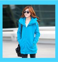 2014 Large Size Women's New Thick Fleece Hooded Cardigan Long Sweatshirt M-4XL 3032-3 , Free Shipping