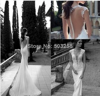 FCD84 custom-made 2014 Berta Backless Lace Wedding Dresses V Neck Appliques Beads Court Train Mermaid Wedding Bridal Gown
