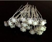 New 200Pcs Wedding Bridal White Rose Flower Crystal Hair Pin Hair Accessory