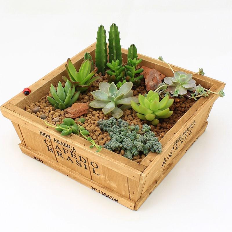 Wood Retro do old Square BOX,Container Pot Zakka Wood Planter Box,Wooden Storage Box,Flower Pots Planters Free Shipping BK060(China (Mainland))