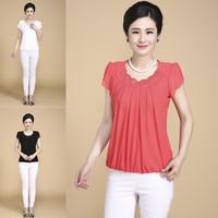 Short sleeve fashion mother clothing quinquagenarian women's summer plus size t-shirt chiffon shirt  Big Size L- 5XL 6XL