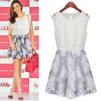 Fashion women's fashion patchwork 2014 lace sleeveless o-neck slim one-piece dress princess dress