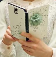 Korea's Fashipn 3D Floral Flip Case Cover for Samsung Galaxy Note 3 Mintgreen Free Shipping FJN3001