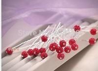 100Pcs Wedding Bridal Red Crystal Ball Hair Pin Shambhala Beads Hairpins