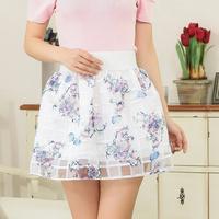 Free shipping women 2015 new fashion summer skirts Korean floral printed Ladies organza ball gown short skirt wholesale & retail
