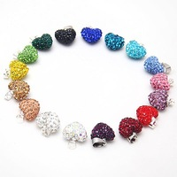 Hot Women's Chic Crystal Heart Shamballa Chain Pendant Necklace #5661