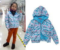 New 2014 Retail spring/wutumn coat Children coat Europe and America Style active coat Girl Windproof outdoor warm coat blue
