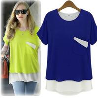 plus size L-4xl short sleeve t-shirt women false two pcs modal Europe loose chiffon t shirt O-neck plus size 5 color t-shirts
