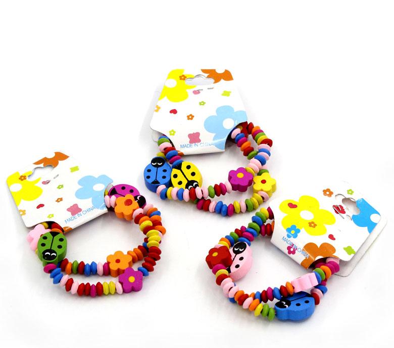 "12 Pairs Wood Beads Elastic Bracelets, Children Kids' Gift 19cm long(7 4/8"")(China (Mainland))"