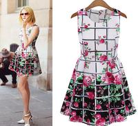 Summer 2014 new European and American major suit rose lattice high-end large temperament sleeveless Chiffon Dress