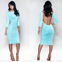 2014 Bandage Dress Plus Size S M L Women Winter Long Sleeve Blue Backless Party Dresses Bodycon Dress Casual Autumn Dress 0557