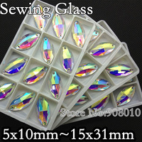 5x10mm,6x12mm,7x15mm,9x18mm,13x22mm,15x31mm Navette Sew on stone crystal AB color horse eye Flatback crystal beads 2holes