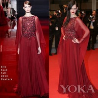 Eva Green Red Chiffon A-line 67th Cannes Film Festival 2014 Red Carpet Elie Saab Celebrity Dresses