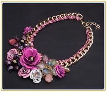 2014 New Kpop Collier Women Corrente Chunky Chain Choker Flowers Maxi Colares Bijoux Bijuterias Necklaces Neckless