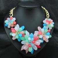 Wholesale New Fashion 2014 Necklace Vintage Jewelry Women Brand Rainbow  Acrylic Flower Pendants Choker Bib Statement necklace