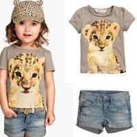Summer Baby Girls Clothes Suits Children Short Sleeve Animals Leopard Tshirts Tops+Cowboy Shorts Pants Kids Denim Clothing
