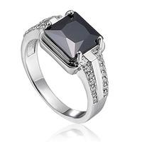 2014 HOT Selling Super Shiny Black Zircon & Platinum Plated Female Finger Rings Jewelry