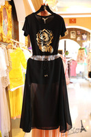 Free shipping 2014 new fashion women sexy short-sleeves modal long dress w/ gold rose print and drawstring