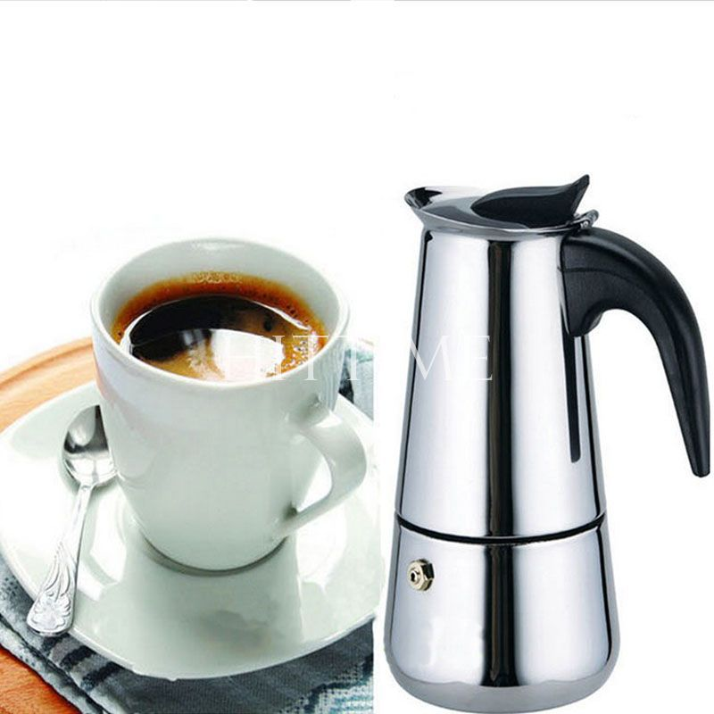 2 Cup Stainless Steel Moka Espresso Latte Percolator Stove Top Coffee Maker Pot #52419(China (Mainland))