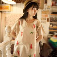 2014 summder fluid embroidery women's top casual short-sleeve round neck T-shirt female