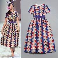 2014 Europeans Style Runway Summer Fashion Vintage Print Bow Slim Dress Long One-Piece Dress