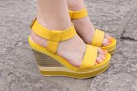 2014 summer women's fashion yellow white wedges sandals 12cm high heels platform shoes female sy-211