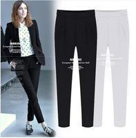 High Quality! New 2014 Women's Cotton Mid Waist Slim Pants&Capris Casual Plus Size XXL Black\White trouser Europe&America Style.
