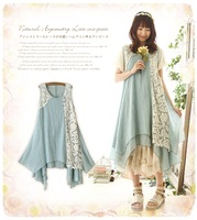 Embroidery expansion dress embroidered sleeveless one-piece dress one-piece dress mori girl