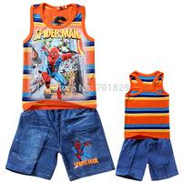Fashion Hot sale 2014 summer carton movie spider-man children's suits boys vest+short jeans sets Free shipping 5Set/lot