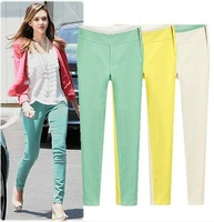 2014 New Summer Women's Plus Size(S-XL) Yellow\Green\White Cotton Twill Pants&Capris famale casual Straight trousers Hotsale