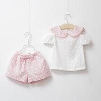 Free Shipping Summer Kid Girl Clothes Set  100% cotton  Shirt And Dot shorts Pants Children Clothing Set