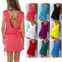 Sexy Lady Short Swimwear Open Back Bikini Cover Up Summer Beach Dress Shirt Wear
