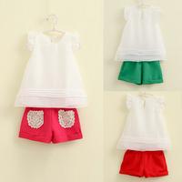 new 2014 Girls Children's summer clothing set  ruffle sleeve T-shirt +shorts) baby girls clothing sets,kids clothes sets