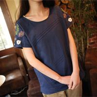2014 summder Dark Blue women's top embroidered hemp cotton o-neck pullover loose plus size t-shirt female