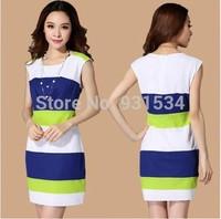 Promotions Summer Dress 2014 Women Elegant Slim Color Block Stripe One-piece Dress Girl Chiffon Casual Fashion Party Dress