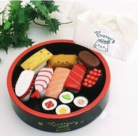 Free Shipping!Baby Wooden Toys Simulation Sushi Lunch Box Baby Pretend Play Kitchen Toys Gift for Baby