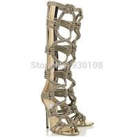 new fashion high heels khaki hemp rope cutout summer boots knee high gladiator sandals women!