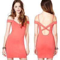 Fashion  summer dress 2014 girl dress the back cross sexy slim hip racerback V-neck spaghetti strap one-piece dress d371
