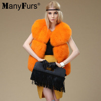 ManyFurs-Plaid 100% genuine Fox fur women winter vest slim warm furs vests whole piece free shipping by EMS