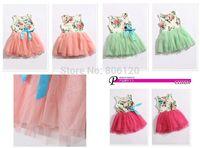 4pcs/lot 2014 summer children's wear  dress of the girls Children flower ribbon For The kindergarten