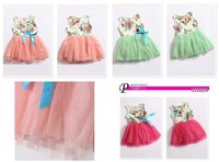 4pcs/lot 2014 summer children's wear  dress of the girls Children flower skirt ribbon For The kindergarten