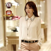 2014 new women summer and large solid career Slim Chiffon Blouse long sleeve shirt