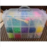 new 2014  SALSA DELUXE Three layers of plastic loom kit box Loom rubber bands Kit knitting machines Children fun loom