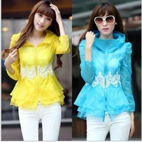 2014 New style women's Fashion summer Sun protection lace hooded  jackets coats Free Shipping 1W6
