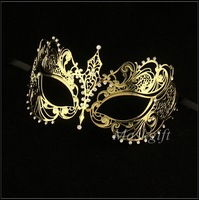 Free Shipping!!! Hot Sell Wholesale Luxurious Gold color Venetian Laser Cut Metal Mask With Rhinestone with Black Crystal mask