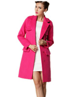 Free Shipping! 2015 Autumn Winter New Fashion Single Breasted Long Overcoat Women , Loose Big size  Wool Coat rose red/blue