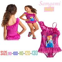 2-7 Y 5  Pcs Lot 2014 New  Fashion Summer Girl Baby Child Kids Princess Cartoon Frozen Elsa Anna One Piece Swimwear H0140603